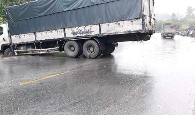 Chiếc xe tải trong vụ tai nạn. Ảnh: CTV.