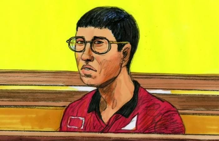 Ảnh vẽ Zhiling Ma tại tòa.
