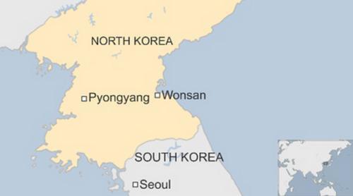Vị trí thành phố Wonsan của Triều Tiên. Đồ họa: BBC.