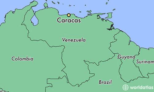 Vị trí thủ đô Caracas của Venezuela. Đồ họa: Worldatlas.