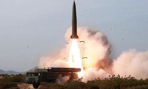 Tên lửa Triều Tiên khai hỏa trong vụ thử ngày 4/5. Ảnh: KCNA.