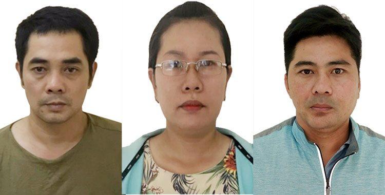 Các bị can (từ trái qua) Nguyễn Xuân Hùng, Nguyễn Thị Thanh Hà, Nguyễn Lâm Sỹ.