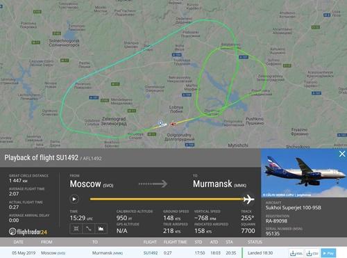 Phi cơ bay quanh Moskva hai vòng và hạ cánh sau khoảng 45 phút. Ảnh:  Flightradar24.