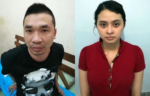 Văn Kính Dương và người tình Ngọc Miu sau khi bị bắt. Ảnh: Công an cung cấp.