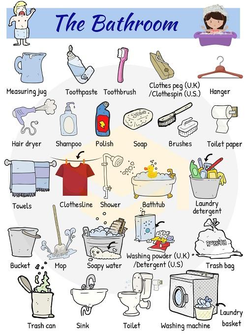 Từ vựng tiếng Anh về vật dụng trong phòng tắm
