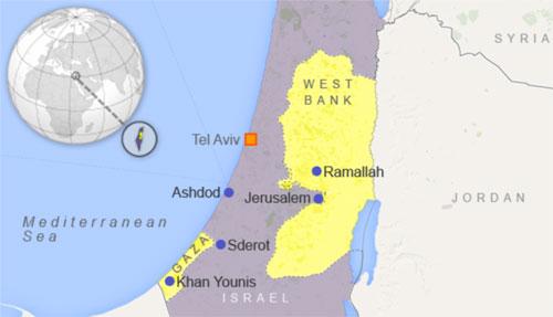 Vị trí tương quan giữa Dải Gaza và lãnh thổ Israel. Đồ họa: NBC.