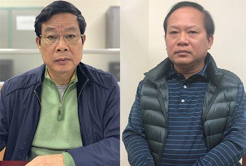Ông Nguyễn Bắc Son (trái) và Trương Minh Tuấn khi bị bắt. Ảnh: Bộ Công an.