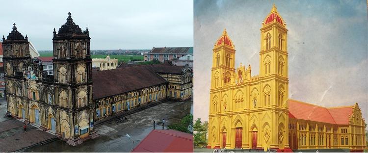 Nhà thờ Bùi Chu hiện nay (bên trái) và phối cảnh nhà thờ mới sắp xây dựng (bên phải).