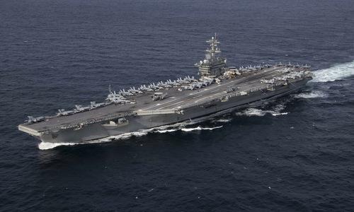 Tàu sân bay USS Abraham Lincoln huấn luyện trên Đại Tây Dương đầu năm 2019. Ảnh: US Navy.