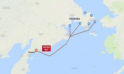 Hành trình trôi dạt của con gấu Bắc Cực. Ảnh: Siberian Times.