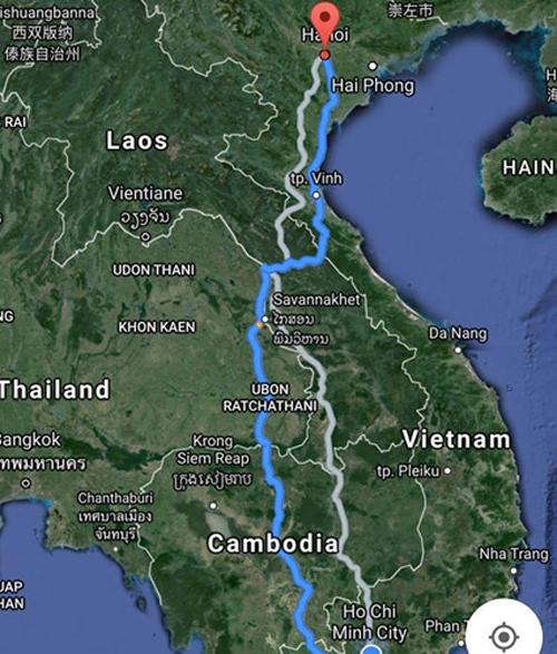 Cung đường lái ôtô từ TP.HCM ra Hà Nội được Google Maps chỉ dẫn.