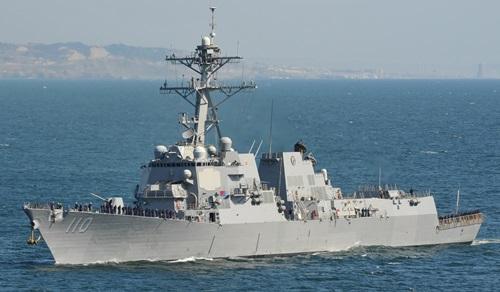 Tàu khu trục mang tên lửa dẫn đường USS William P Lawrence của Mỹ. Ảnh: Hải quân Mỹ.