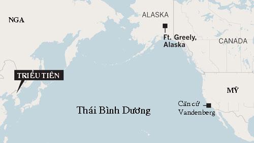 Vị trí tương quan giữa Triều Tiên và căn cứ Vandenberg của Mỹ. Đồ họa: LATimes.
