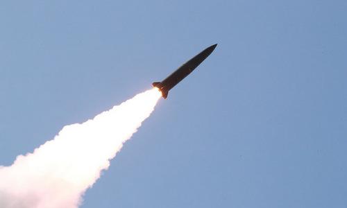 Tên lửa đạn đạo Triều Tiên sau khi rời bệ phóng hôm 9/5. Ảnh: KCNA.