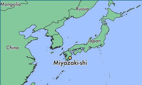 Vị trí tỉnh Miyazakhi. Đồ họa: World Atlas.
