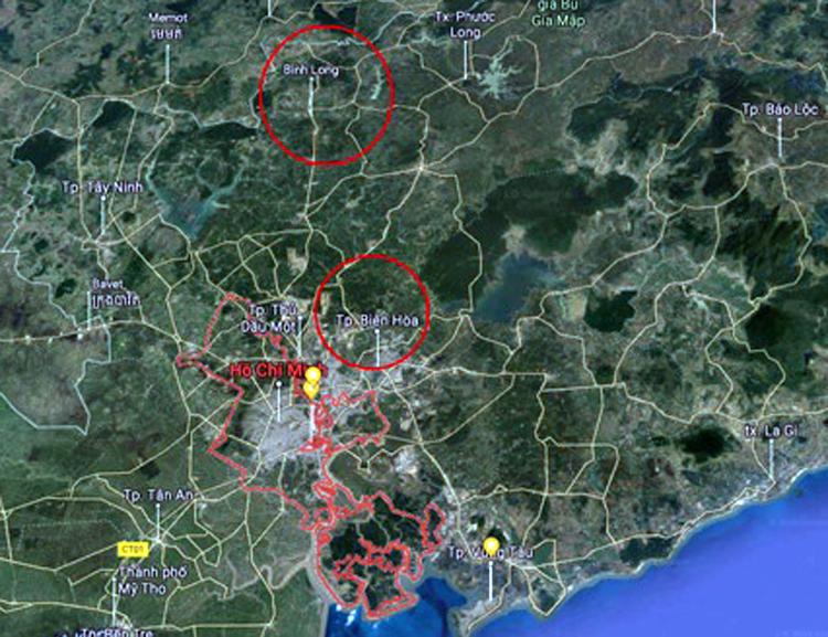 TP HCM giáp Đồng Nai và Bình Phước (khoanh tròn).