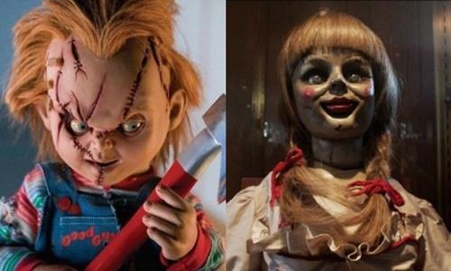 Búp bê Chucky (trái) và Annabelle là hai nhân vật nổi tiếng trong phim kinh dị Mỹ. Ảnh: Pop Culture.