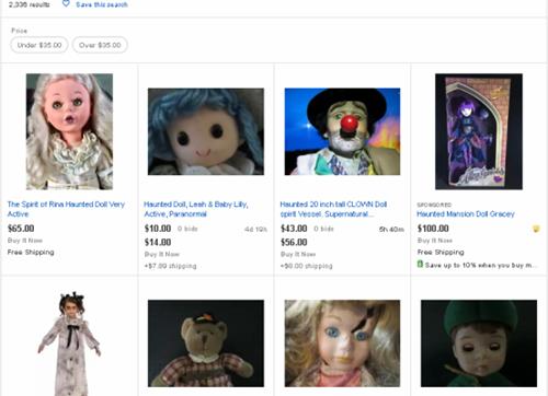 Hơn 2.300 kết quả được tìm thấy khi tìm từ khóa búp bê ma ám (haunted doll) trên eBay. Ảnh: eBay.