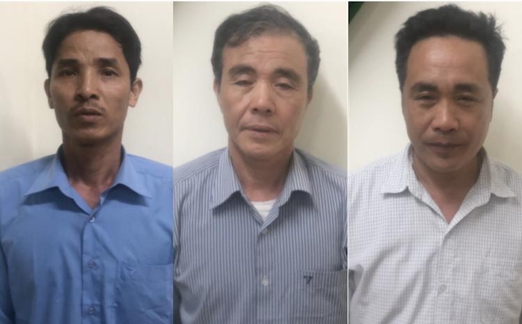 Nhóm bị can tại cơ quan điều tra. Ảnh: Nguyễn Hải.