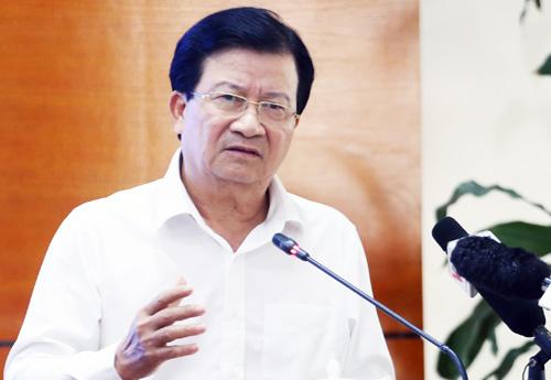 Phó thủ tướng Trịnh Đình Dũng phát biểu kết luận buổi họp trực tuyến phòng chống dịch Tả lợn châu Phí sáng 13/5. Ảnh: Võ Hải.