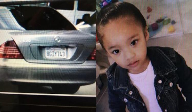 Ảnh bé gái mất tích và thông tin chiếc xe được chia sẻ rộng rãi.