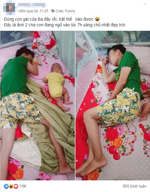 Mẹ trẻ khoe ảnh tư thế ngủ của bố và con gái nhận được hàng chục nghìn lượt thích.