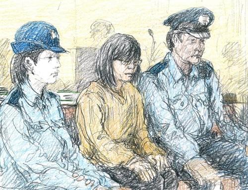 Nagisa Kurihara (giữa) trong phiên xét xử đầu tiên tại tòa án Chiba hôm nay. Ảnh: Kyodo.