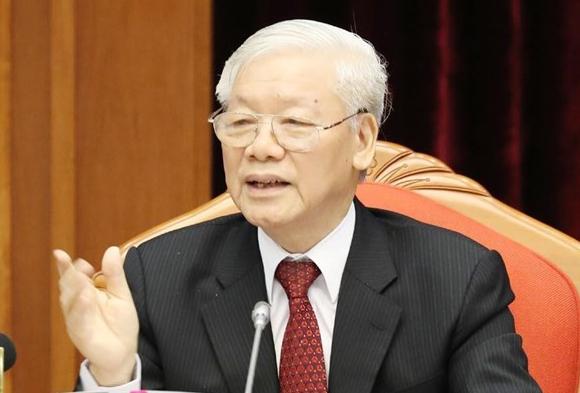 Tổng bí thư, Chủ tịch nước Nguyễn Phú Trọng tại phiên khai mạc Hội nghị Trung ương 10 sáng 16/5. Ảnh:TXX