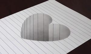 Mẹo vẽ chiếc hố 3D hình trái tim cho trẻ