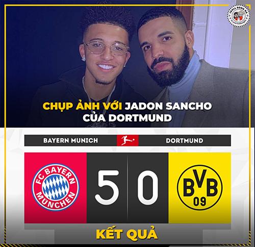 Sancho giúp Bayern đánh bại Dortmund với tỉ số không tưởng.