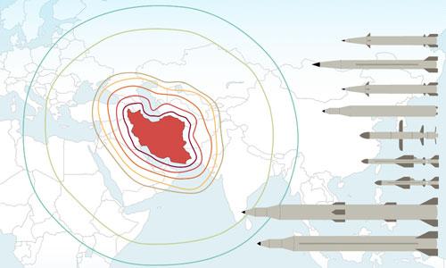Tầm bắn các loại tên lửa của lực lượng vũ trang Iran. Bấm vào ảnh để xem chi tiết.