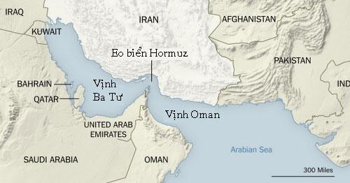 Vị trí eo biển Hormuz và vịnh Ba Tư (Persian Gulf). Đồ họa: NY Times.