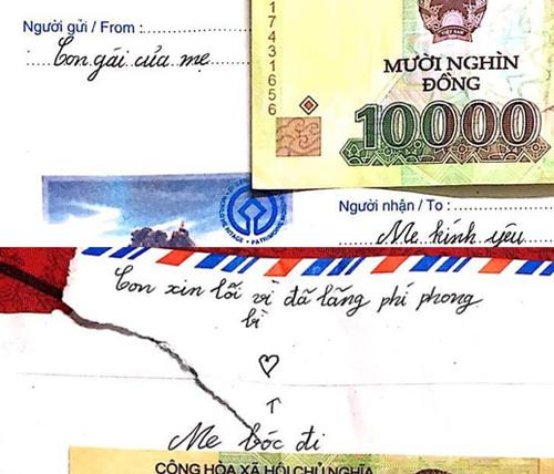 Cô bé cũng gửi lại tiền và xin lỗi mẹ vì đã lãng phí phong bì.