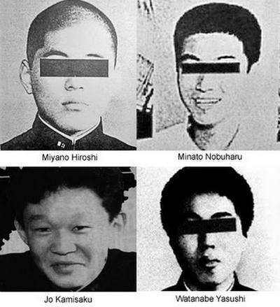 4 kẻ tra tấn, hãm hiếpFuruta. Danh tính của những tên này được xác định bởitruyền thông. Ảnh:ripeace.