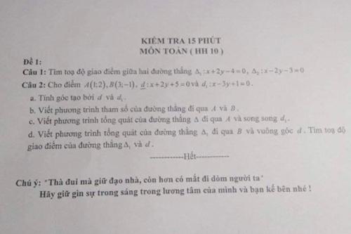Buông nhẹ 1 câu cuối đề kiểm tra, giáo viên khiến học sinh tắt ngấm ý định quay cóp.