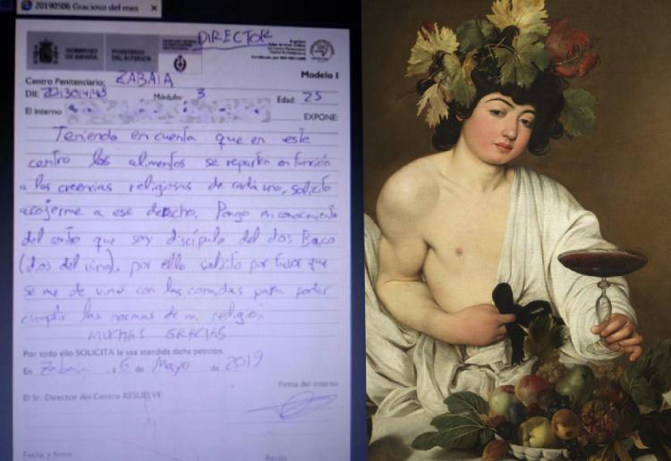 Bức thư của tù nhân (trái) nói mình là tín đồ của thần rượu Bacchus (phải).