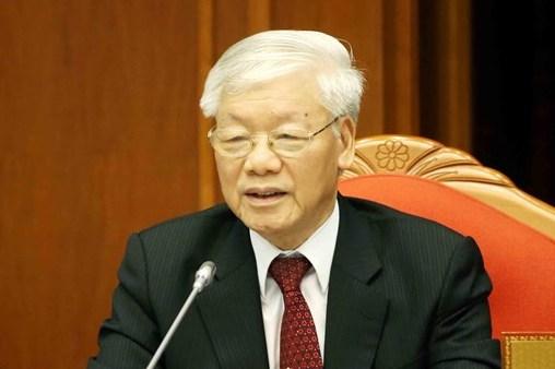 Tổng bí thư, Chủ tich nước Nguyễn Phú Trọng phát biểu bế mạc hội nghị Trung ương 10, khoá XII. Ảnh: TTX