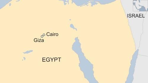 Vị trí quần thể kim tự tháp Giza. Đồ họa: BBC.