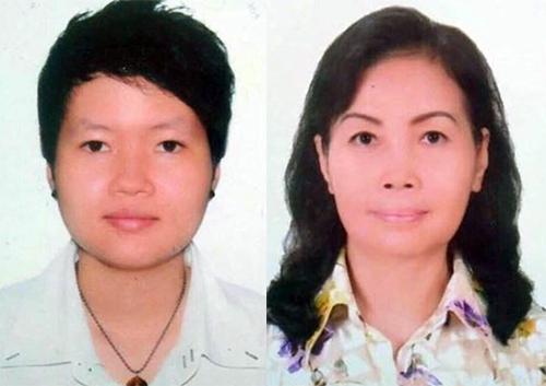 Phạm Thị Thiên Hà (31 tuổi, trái) và Trịnh Thị Hồng Hoa (66 tuổi) - hai trong bốn người bị bắt. Ảnh: Công an cung cấp.