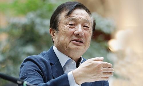 Nhậm Chính Phi tại trụ sở Huawei ở Trung Quốc hồi tháng một. Ảnh: SCMP.