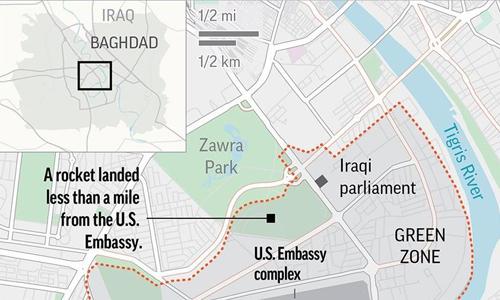 Vị trí tên lửa rơi xuống gần đại sứ quán Mỹ ở Iraq. Đồ họa: AP.