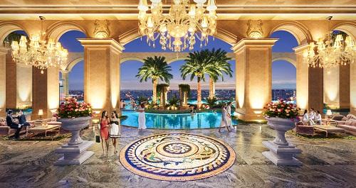 Phối cảnh tầng tiện ích tại Rome by Diamond Lotus với kiến trúc lấy cảm hứng từ nền văn minh La Mã, kết hợp tiện ích sang trọng, hiện đại như trong resort.