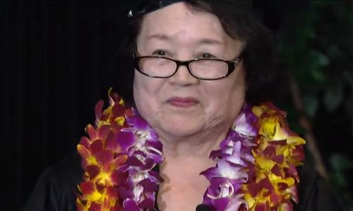 Bà Fujii trong ngày tốt nghiệp. Ảnh: CBS8