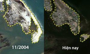 15 năm nước biển xâm thực bãi biển Cửa Đại
