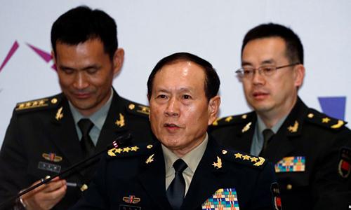 Bộ trưởng Quốc phòng Trung Quốc Ngụy Phượng Hòa (giữa) phát biểu tại Hội nghị các bộ trưởng quốc phòng ASEAN tại Singapore ngày 19/10/2018. Ảnh: Reuters