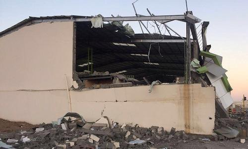 Một khu nhà chứa ở sân bay Najran bị hư hại sau cuộc tấn công hôm 21/5. Ảnh: Yenisafak.