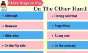 Những cách diễn đạt thay thế 'on the other hand'