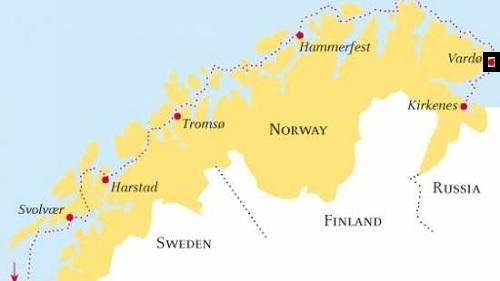 Vị trí khu vực Vardo của Na Uy. Đồ họa: Hidde Europe.