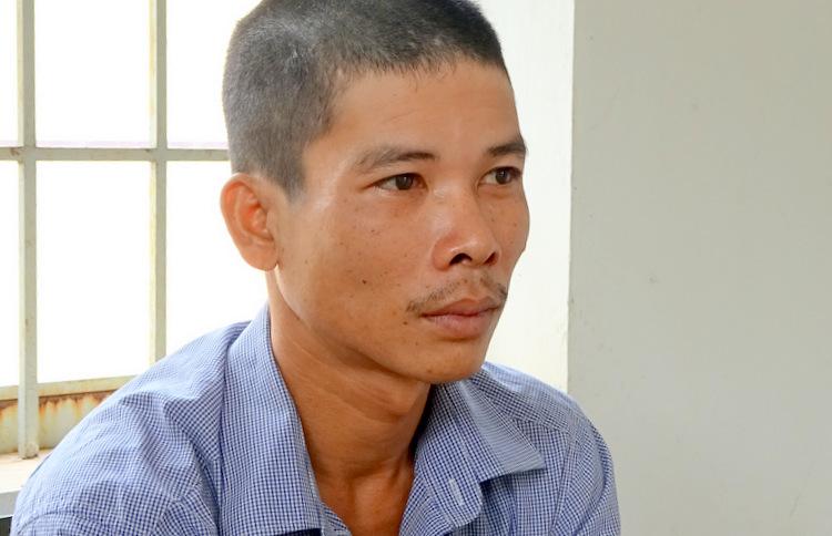 Huỳnh Văn Hải tại cơ quan công an. Ảnh: Hồng Tuyết.