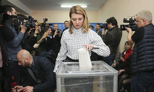 Bà Olena trong ngày bỏ phiếu bầu cử tổng thống. Ảnh: UNIAN